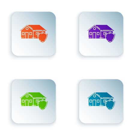 Color House under protection icon isolated on white background. Protection, safety, security, protect, defense concept. Set icons in colorful square buttons. Vector Illustration Stockfoto - 129528139