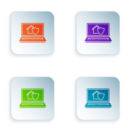 Color Laptop with house under protection icon isolated on white background. Protection, safety, security, protect, defense concept. Set icons in colorful square buttons. Vector Illustration Stock Illustratie