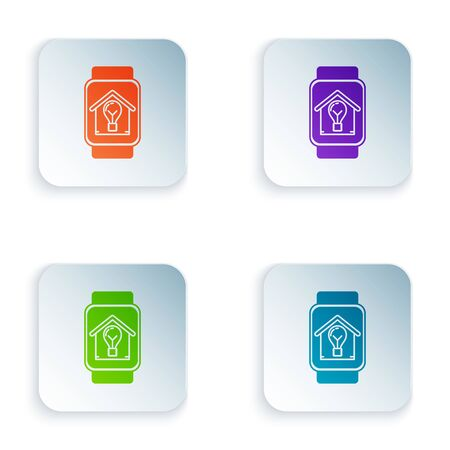 Color Smart watch with smart house and light bulb icon isolated on white background. Set icons in colorful square buttons. Vector Illustration 向量圖像