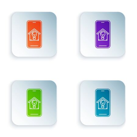 Color Mobile phone with smart house and light bulb icon isolated on white background. Set icons in colorful square buttons. Vector Illustration