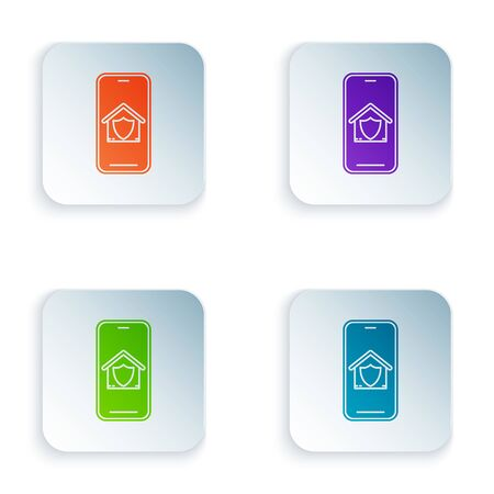 Color Mobile phone with house under protection icon isolated on white background. Protection, safety, security, protect, defense concept. Set icons in colorful square buttons. Vector Illustration