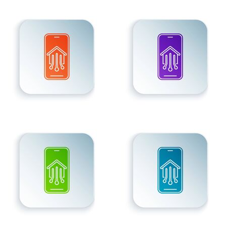 Color Mobile phone with smart home icon isolated on white background. Remote control. Set icons in colorful square buttons. Vector Illustration