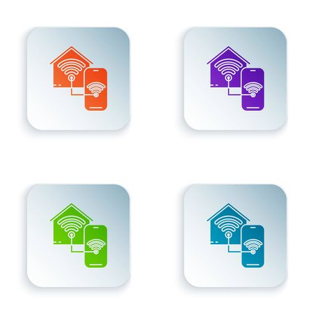 Color Smart home with wifi icon isolated on white background. Remote control. Set icons in colorful square buttons. Vector Illustration