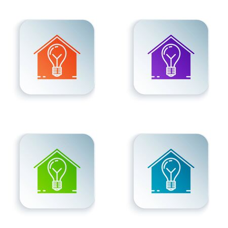 Color Smart house and light bulb icon isolated on white background. Set icons in colorful square buttons. Vector Illustration