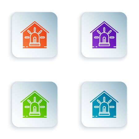 Color Smart house and alarm icon isolated on white background. Security system of smart home. Set icons in colorful square buttons. Vector Illustration Çizim