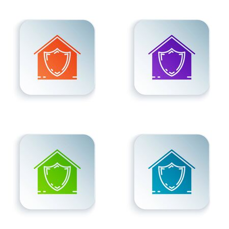 Color House under protection icon isolated on white background. Protection, safety, security, protect, defense concept. Set icons in colorful square buttons. Vector Illustration Stockfoto - 129528161
