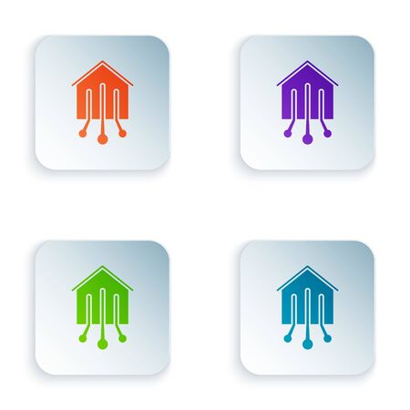 Color Smart home icon isolated on white background. Remote control. Set icons in colorful square buttons. Vector Illustration