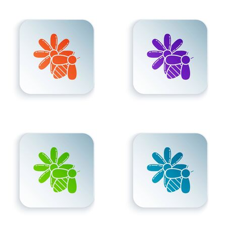 Color Bee and flower icon isolated on white background. Sweet natural food. Honeybee or apis with wings symbol. Flying insect. Set icons in colorful square buttons. Vector Illustration