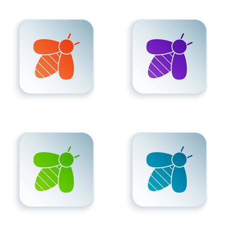 Color Bee icon isolated on white background. Sweet natural food. Honeybee or apis with wings symbol. Flying insect. Set icons in colorful square buttons. Vector Illustration