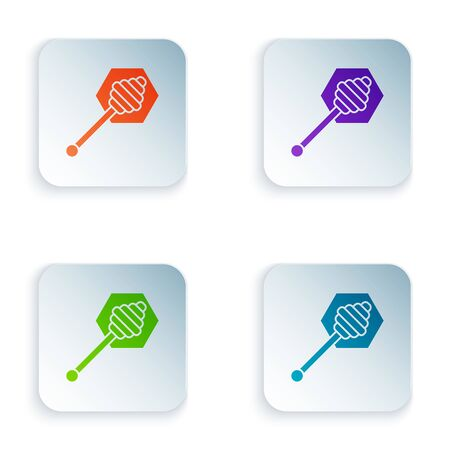 Color Honey dipper stick icon isolated on white background. Honey ladle. Set icons in colorful square buttons. Vector Illustration Stock fotó - 129528170