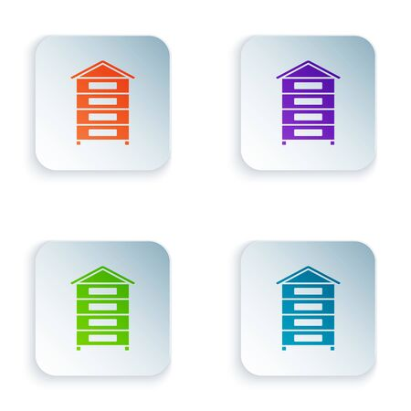 Color Hive for bees icon isolated on white background. Beehive symbol. Apiary and beekeeping. Sweet natural food. Set icons in colorful square buttons. Vector Illustration 일러스트