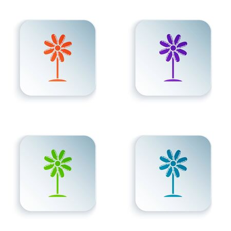Color Flower icon isolated on white background. Sweet natural food. Set icons in colorful square buttons. Vector Illustration