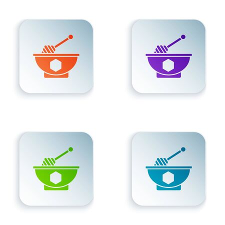 Color Honey dipper stick and bowl icon isolated on white background. Honey ladle. Set icons in colorful square buttons. Vector Illustration Illusztráció