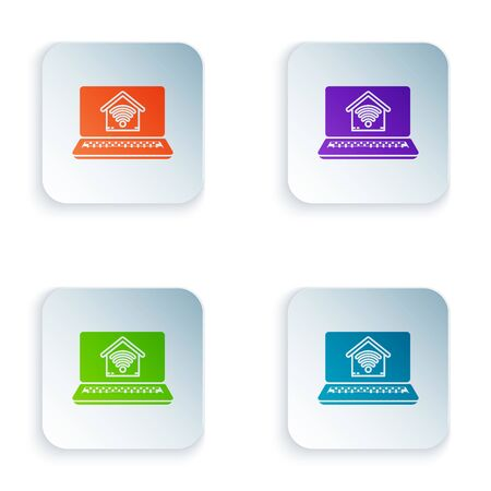Color Laptop with smart home with wifi icon isolated on white background. Remote control. Set icons in colorful square buttons. Vector Illustration