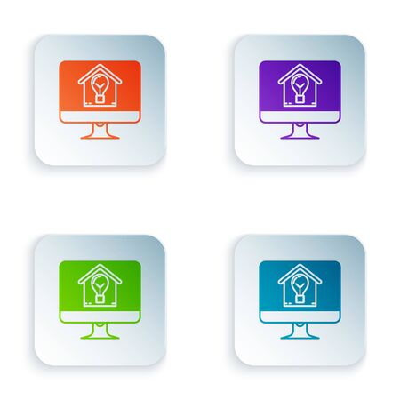 Color Computer monitor with smart house and light bulb icon isolated on white background. Set icons in colorful square buttons. Vector Illustration 向量圖像