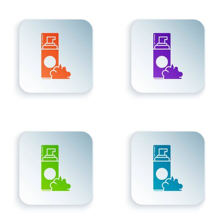 Color Shaving gel foam icon isolated on white background. Shaving cream. Set icons in colorful square buttons. Vector Illustration