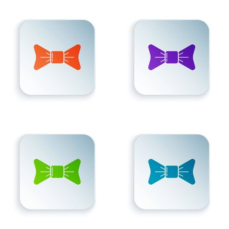 Color Bow tie icon isolated on white background. Set icons in colorful square buttons. Vector Illustration Illusztráció