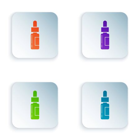 Color Glass bottle with a pipette. Vial with a pipette inside icon isolated on white background. Container for medical and cosmetic product. Set icons in colorful square buttons. Vector Illustration