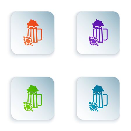 Color Glass of beer and hop icon isolated on white background. Set icons in colorful square buttons. Vector Illustration Иллюстрация