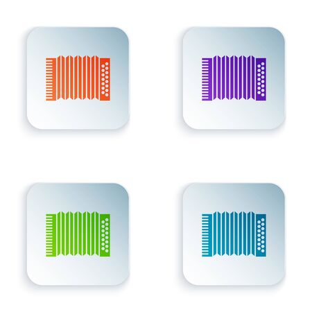 Color Musical instrument accordion icon isolated on white background. Classical bayan, harmonic. Set icons in colorful square buttons. Vector Illustration Banque d'images - 129528305