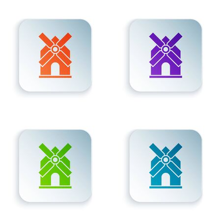 Color Windmill icon isolated on white background. Set icons in colorful square buttons. Vector Illustration