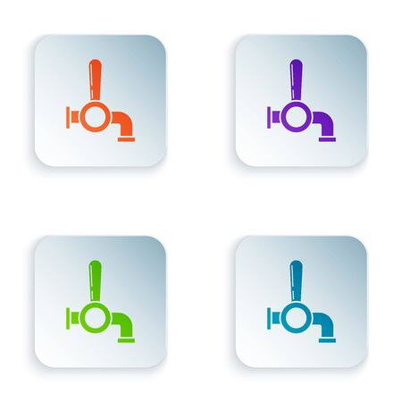 Color Beer tap icon isolated on white background. Set icons in colorful square buttons. Vector Illustration