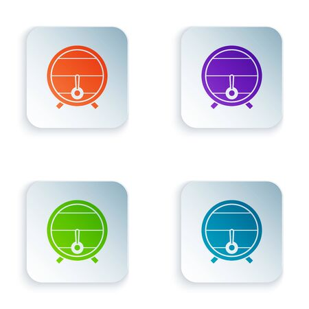 Color Wooden barrel on rack with stopcock icon isolated on white background. Set icons in colorful square buttons. Vector Illustration