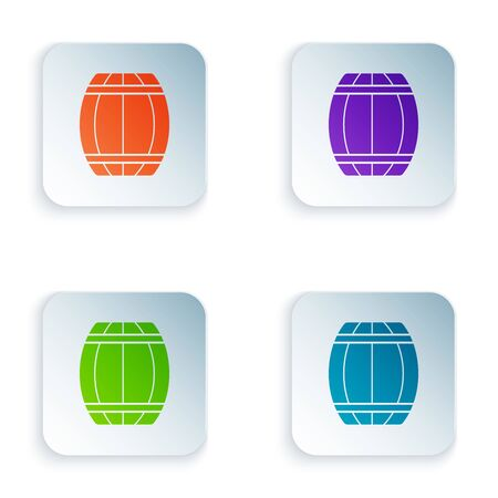 Color Wooden barrel icon isolated on white background. Alcohol barrel, drink container, wooden keg for beer, whiskey, wine. Set icons in colorful square buttons. Vector Illustration Çizim