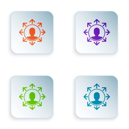 Color Project team base icon isolated on white background. Business analysis and planning, consulting, team work, project management. Set icons in colorful square buttons. Vector Illustration Illusztráció