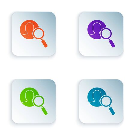 Color Magnifying glass for search a people icon isolated on white background. Recruitment or selection concept. Search for employees and job. Set icons in colorful square buttons. Vector Illustration