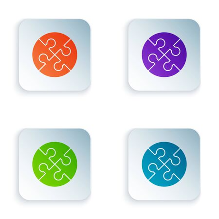 Color Piece of puzzle icon isolated on white background. Business, marketing, finance, template, layout, infographics, internet concept. Set icons in colorful square buttons. Vector Illustration