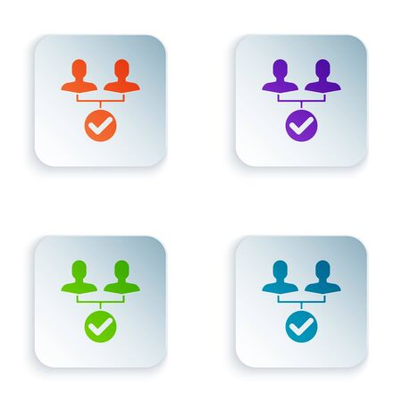 Color Project team base icon isolated on white background. Business analysis and planning, consulting, team work, project management. Set icons in colorful square buttons. Vector Illustration Иллюстрация