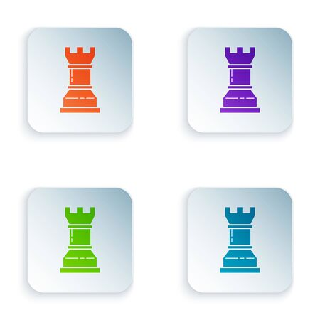 Color Business strategy icon isolated on white background. Chess symbol. Game, management, finance. Set icons in colorful square buttons. Vector Illustration