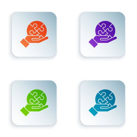 Color Piece of puzzle in hand icon isolated on white background. Business, marketing, finance, template, layout, infographics concept. Set icons in colorful square buttons. Vector Illustration