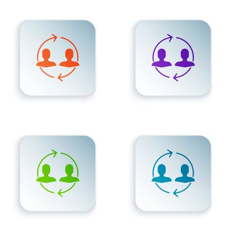 Color Human resources icon isolated on white background. Concept of human resources management, professional staff research, head hunter job. Set icons in colorful square buttons. Vector Illustration Illusztráció