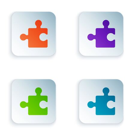 Color Piece of puzzle icon isolated on white background. Modern flat, business, marketing, finance, internet concept. Set icons in colorful square buttons. Vector Illustration