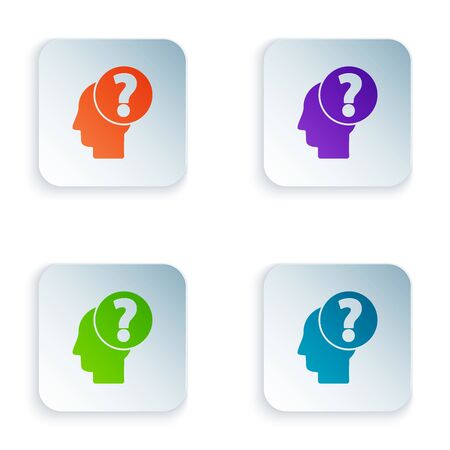 Color Human head with question mark icon isolated on white background. Set icons in colorful square buttons. Vector Illustration Illusztráció