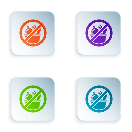 Color No trash icon isolated on white background. Set icons in colorful square buttons. Vector Illustration