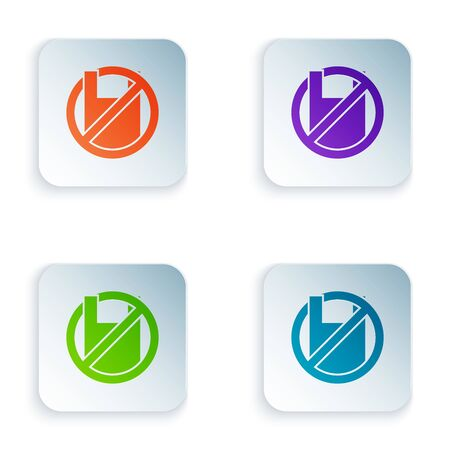 Color Say no to plastic bags poster icon isolated on white background. Disposable cellophane and polythene package prohibition sign. Set icons in colorful square buttons. Vector Illustration