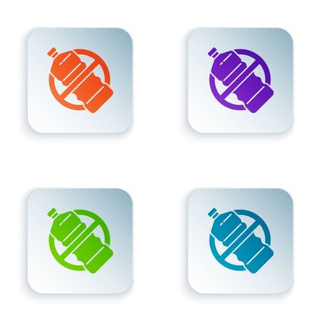 Color No plastic bottle icon isolated on white background. Set icons in colorful square buttons. Vector Illustration
