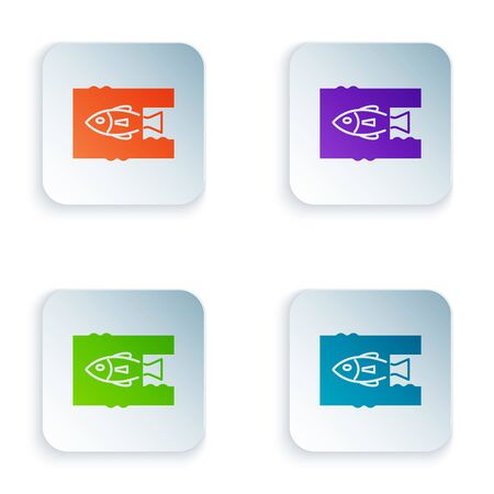 Color Stop ocean plastic pollution icon isolated on white background. Environment protection concept. Fish say no to plastic. Set icons in colorful square buttons. Vector Illustration
