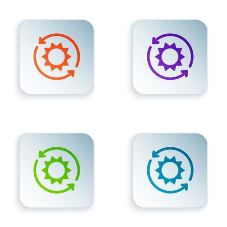 Color Solar energy panel icon isolated on white background. Sun with lightning symbol. Set icons in colorful square buttons. Vector Illustration