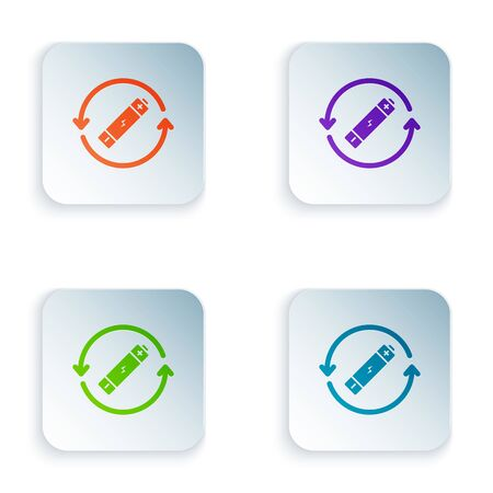 Color Battery with recycle symbol line icon isolated on white background. Battery with recycling symbol - renewable energy concept. Set icons in colorful square buttons. Vector Illustration 向量圖像