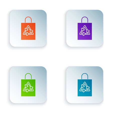 Color Plastic bag with recycle icon isolated on white background. Bag with recycling symbol. Set icons in colorful square buttons. Vector Illustration Ilustracja