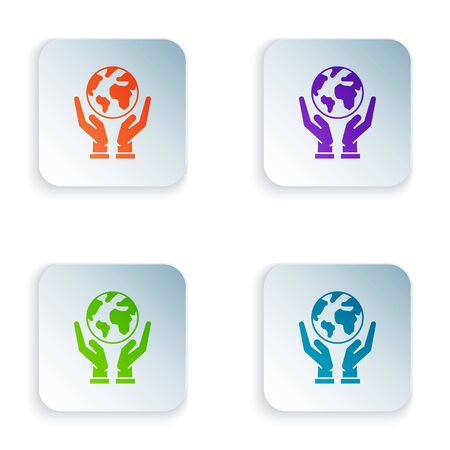 Color Human hands holding Earth globe icon isolated on white background. Save earth concept. Set icons in colorful square buttons. Vector Illustration Zdjęcie Seryjne - 129528449