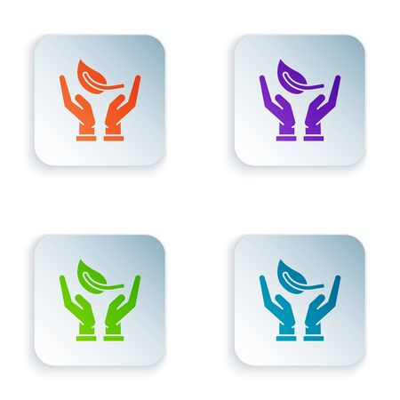 Color Sprout in hand of environmental protection icon isolated on white background. Seed and seedling. Planting sapling. Ecology concept. Set icons in colorful square buttons. Vector Illustration