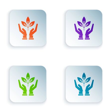 Color Plant in hand of environmental protection icon isolated on white background. Seed and seedling. Planting sapling. Ecology concept. Set icons in colorful square buttons. Vector Illustration