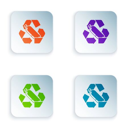 Color Recycling plastic bottle icon isolated on white background. Set icons in colorful square buttons. Vector Illustration  イラスト・ベクター素材