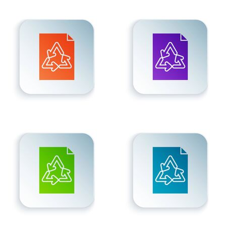 Color Paper with recycle icon isolated on white background. Set icons in colorful square buttons. Vector Illustration