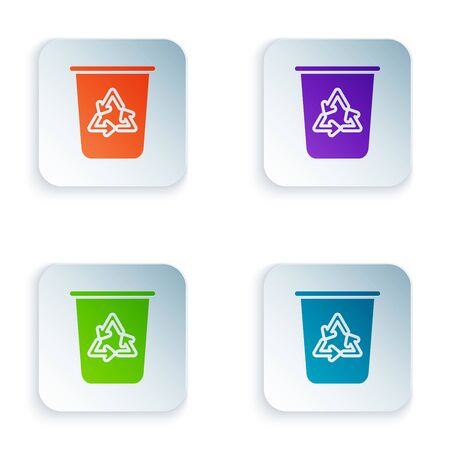 Color Recycle bin with recycle symbol icon isolated on white background. Trash can icon. Garbage bin sign. Recycle basket sign. Set icons in colorful square buttons. Vector Illustration